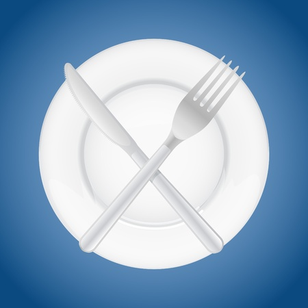 fork crossing knife on plate - illustration Stock Vector - 17745058