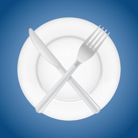 formal place setting: fork crossing knife on plate - illustration