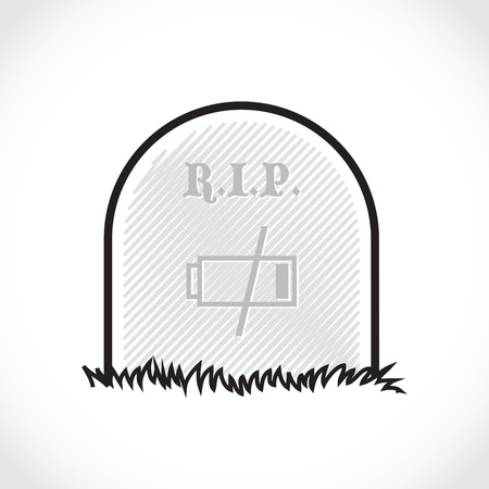 burial: Gravestone, rest in peace, dead battery - illustration