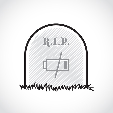 Gravestone, rest in peace, dead battery - illustration Stock Vector - 17745026