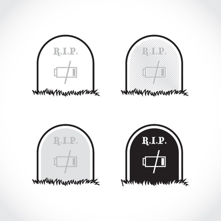 rest in peace: Set of gravestones, rest in peace, dead battery - illustration