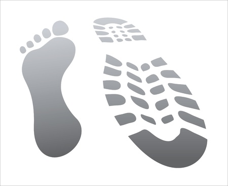 dirty feet: footprint, two shoes - green and red, isolated on white, illustration