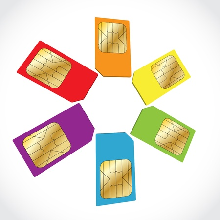 sim card: Circle created from color SIM cards