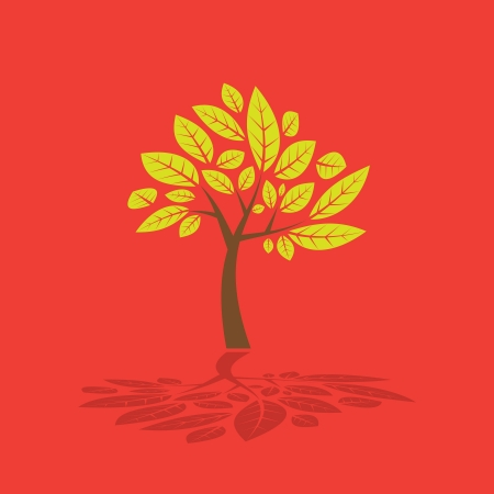 Green tree created from trunk and leafs - illustration Vector