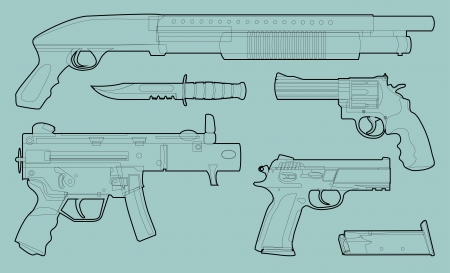 Set of outlined various weapons - illustration Vector