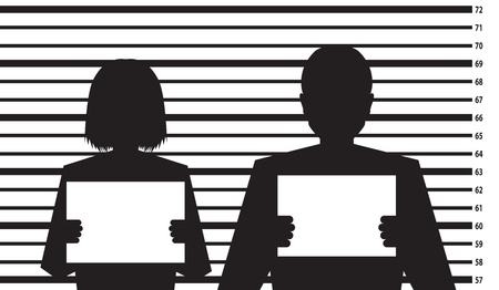 busted: Police criminal record with man and woman silhouette - illustration