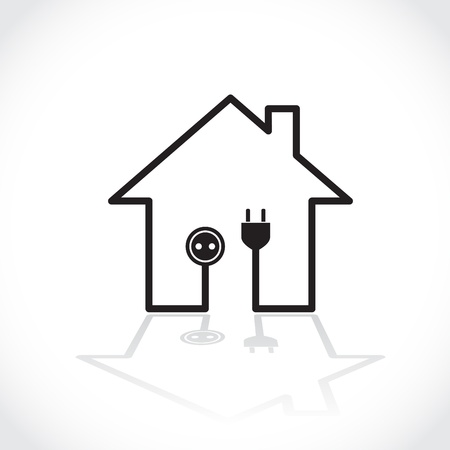 electricity supply: House symbol as simple electricity circuit - illustration