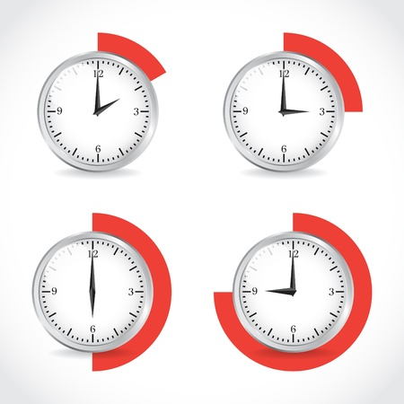 Clocks, timer set, illustration Vector