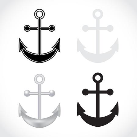 maritimo: conjunto de anclas en el fondo blanco - ilustraci�n