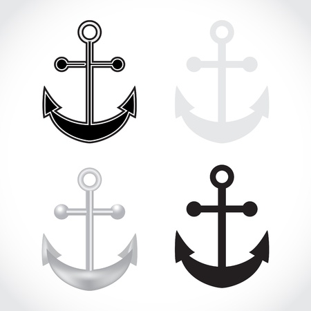 maritime: set of anchors on white background - illustration