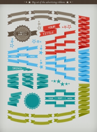 scroll design: The big set of colorful advertising ribbons - illustration
