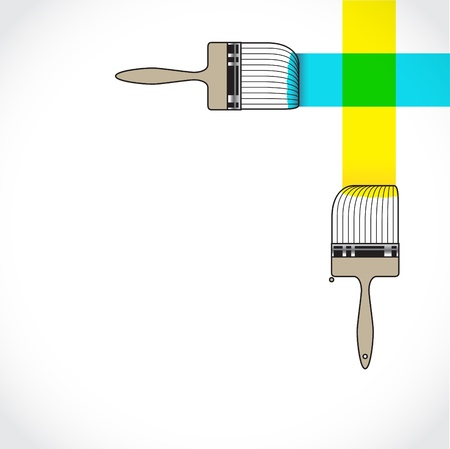 red cross: Paintbrush crossing over another brush in painting color Illustration