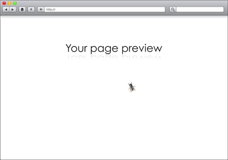 Blank window of internet browser with fly sitting on the screen Vector