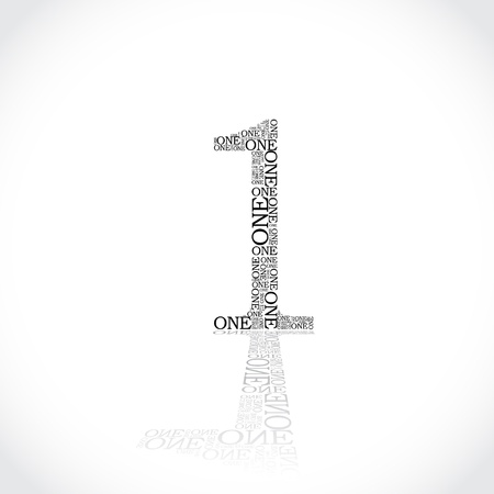 created: number one created from text - illustration
