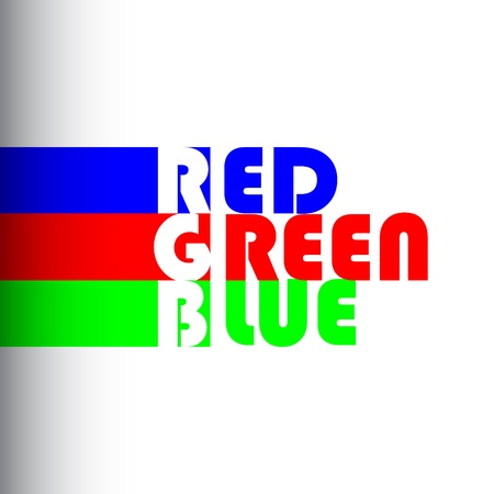 primary colors: RGB concept with confused-mix label of colors