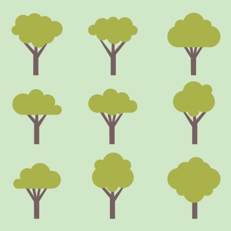 set of symbolic trees - illustration Vector