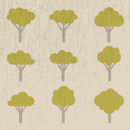 set of symbolic trees - illustration Vector