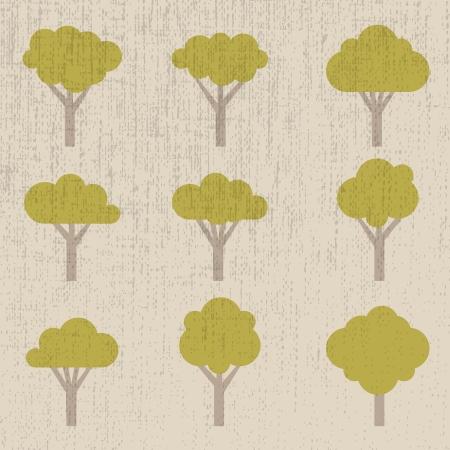 oak tree silhouette: set of symbolic trees - illustration