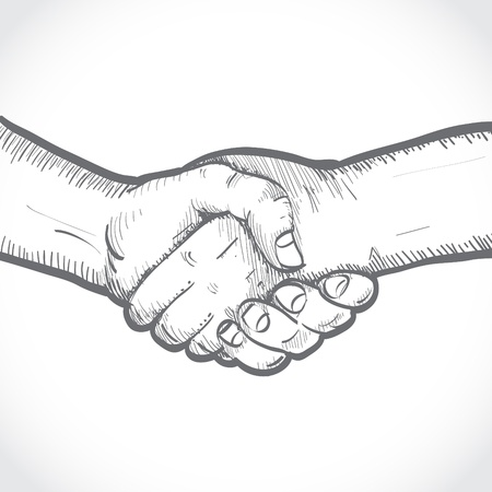 hands shaking: Sketch of two shaking hands