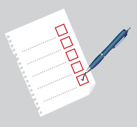 Checklist on paper sheet and pen, illustration Vector