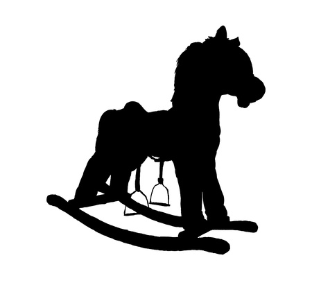 silhouette of cockhorse child toy - closeup illustration Vector