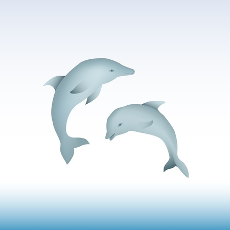 dolphin fish: Pair of jumping dolphins - illustration