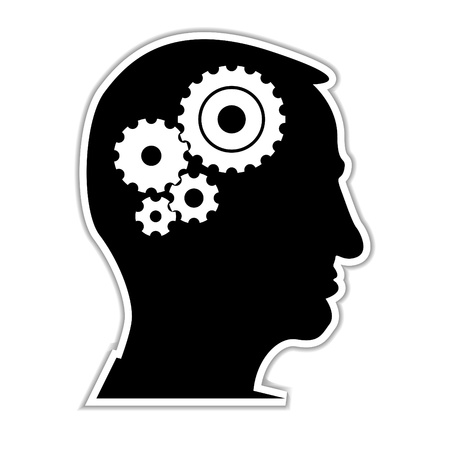 contemplation: head with cogs - illustration
