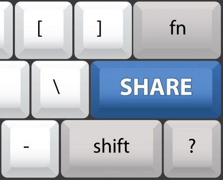 Share key on a computer keyboard - illustration Vector