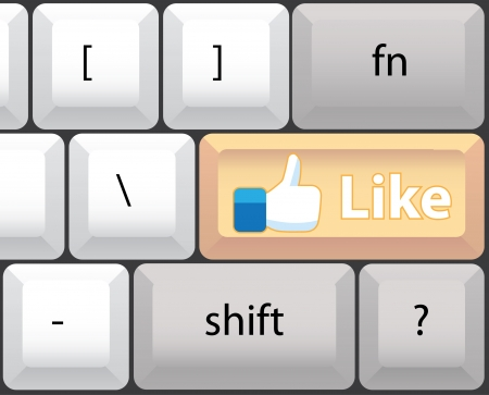 Like key on computer keyboard - illustration Vector