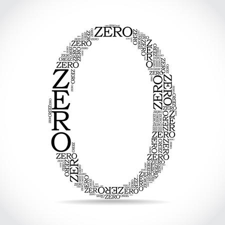 zero sign created from text - illustration 일러스트