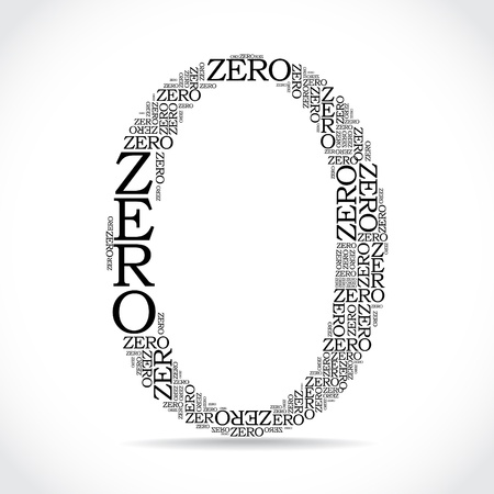 zero sign created from text - illustration Illustration