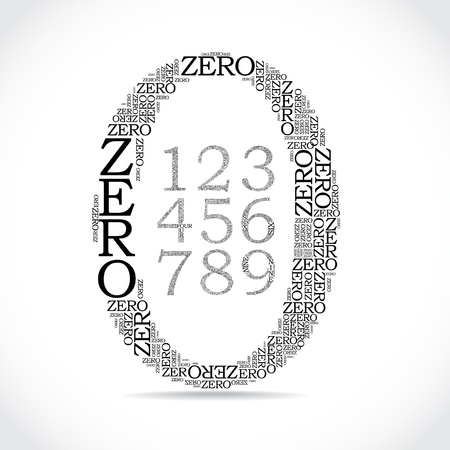 0 6: set of number created from text - illustration Illustration
