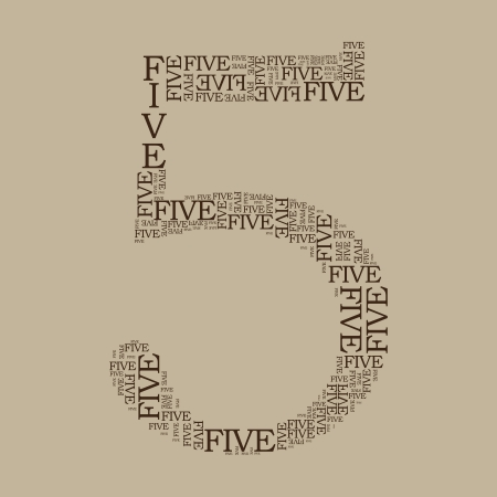 number five created from text - illustration 向量圖像