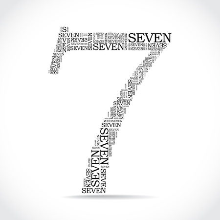 number seven: number seven created from text - illustration Illustration