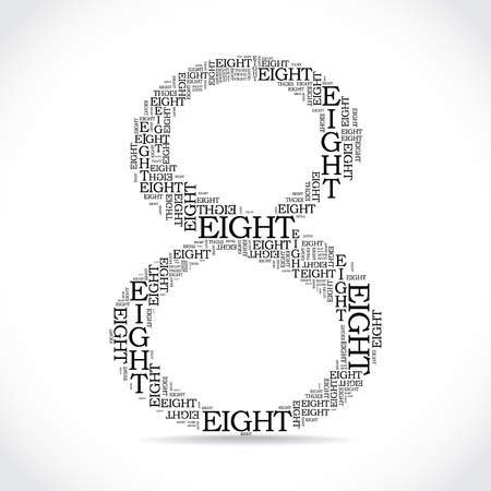 created: number eight created from text - illustration