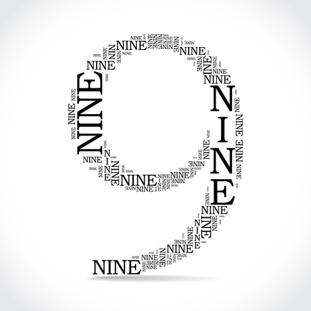 created: number nine created from text - illustration