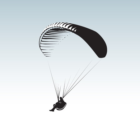 glide: Paragliding theme, parachute controlled by a person Illustration