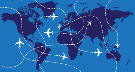 Airplanes over the world map - illustration Vector