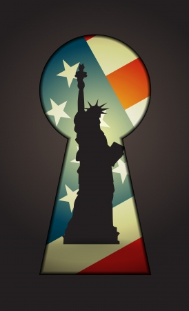 Statue of Liberty seen through a key hole Vector