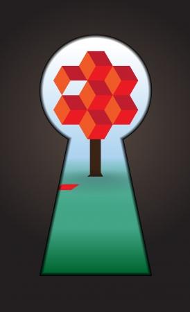 od: Symbol od tree and falling leaf, seen through a keyhole