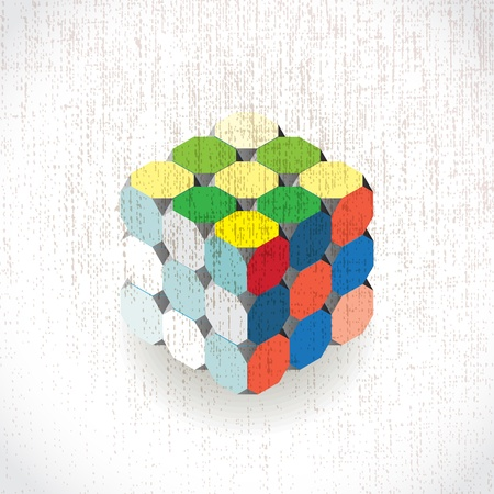 3d colorful cube on grunge background Vector