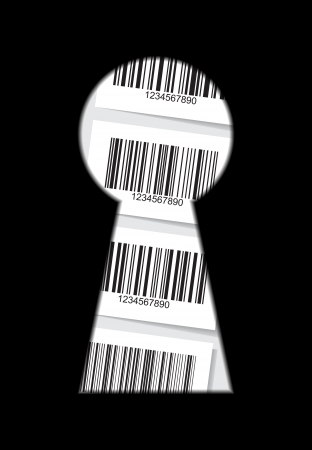 unique concept: Set of barcode stickers behind the keyhole - illustration Illustration