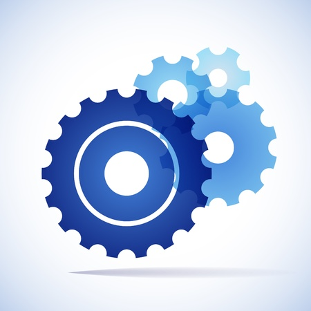 blue trnsparent cogs  gears  on white background Vectores