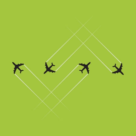 Airplanes on the sky - illustration Vector