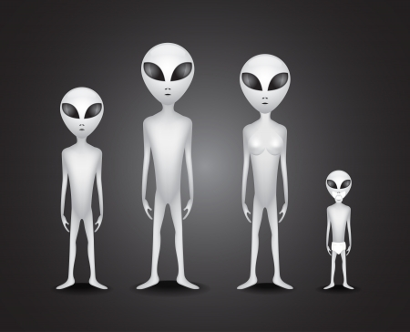 hoax: Whole alien family - illustration