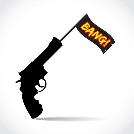 firing: Firing gun with the Bang flag