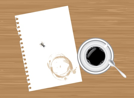 wet flies: Coffee, paper and fly on wooden table - illustration