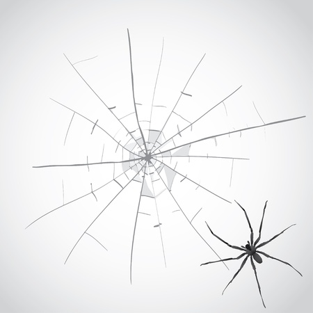 broken glass cracks and spider