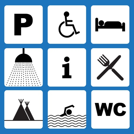 Set of outdoor camping icons - illustration Vector