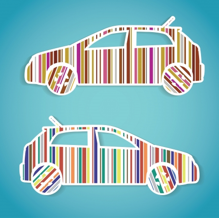 cars as color barcode, isolated illustration Vector